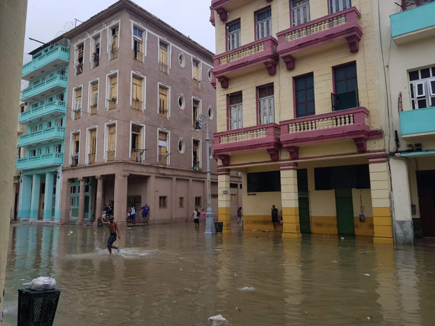 After hurricane Irma in Sept 2017, a bit of flooding in Havana
