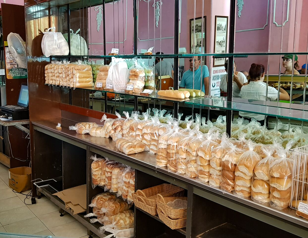 Fresh bread and buns for sale at Pasteleria Francesa Bakery Havana Cuba
