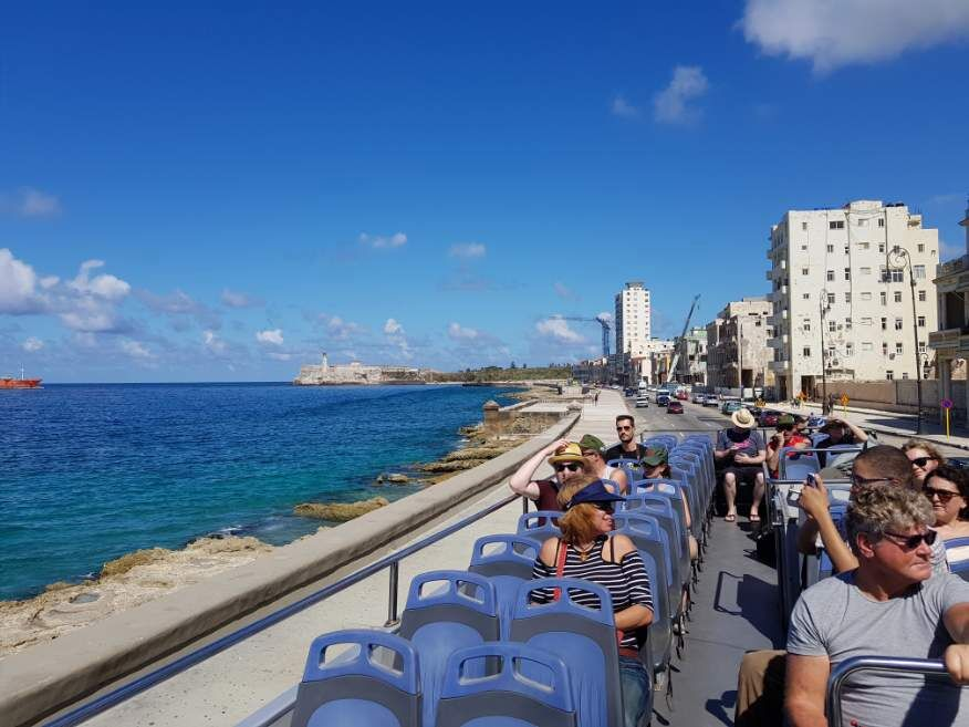 Habana Bus Tour - Views along the Malecon from the top of the double-decker bus