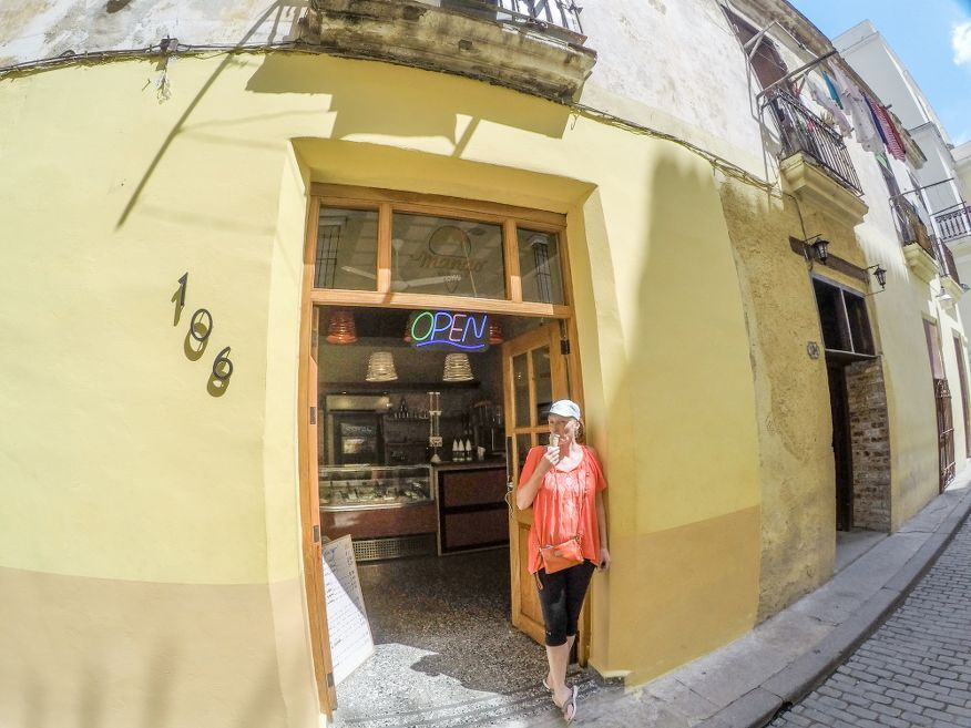 Me enjoying my icecream outside Mango Gelateria Icecream shop in Old Havana