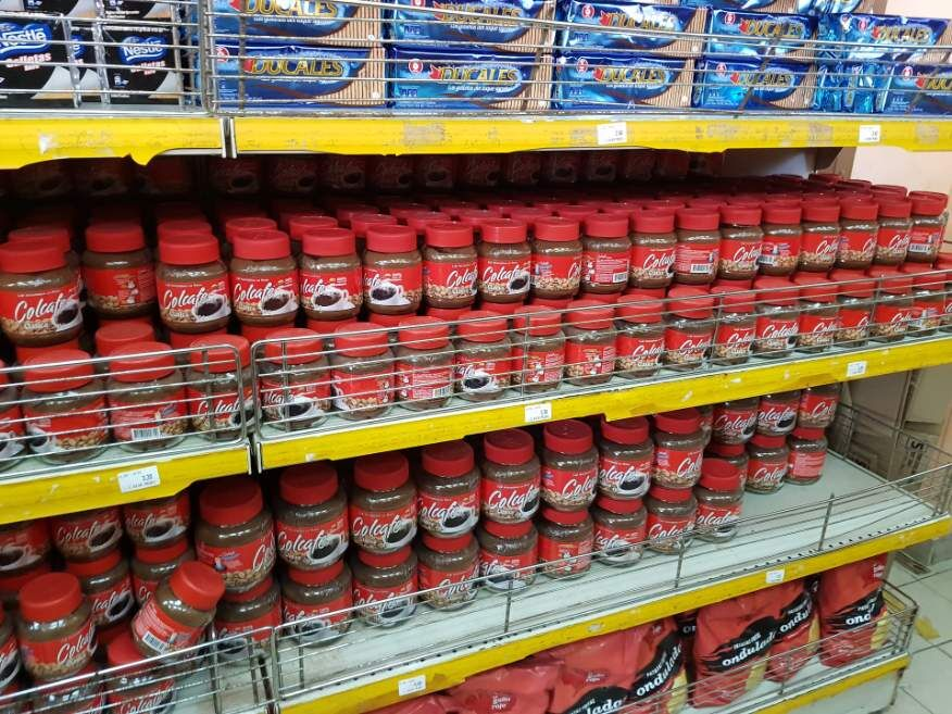 Not much variety in the supermarket in Cuba