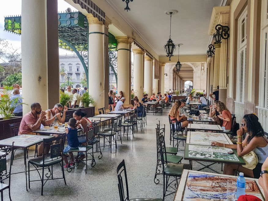 Seating outside at cafe Louvre Hotel Inglaterra Havana