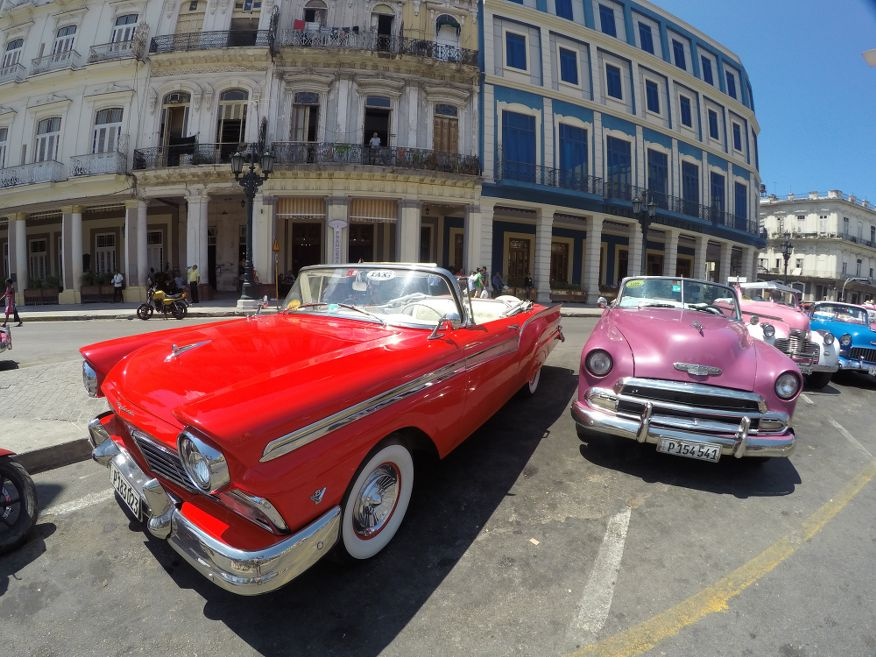 More classic cars in Parque Central, Havana