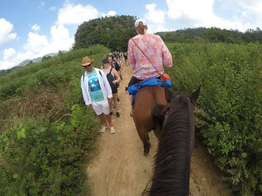 Passing a walking tour group horse ride tour from Vinales Cuba
