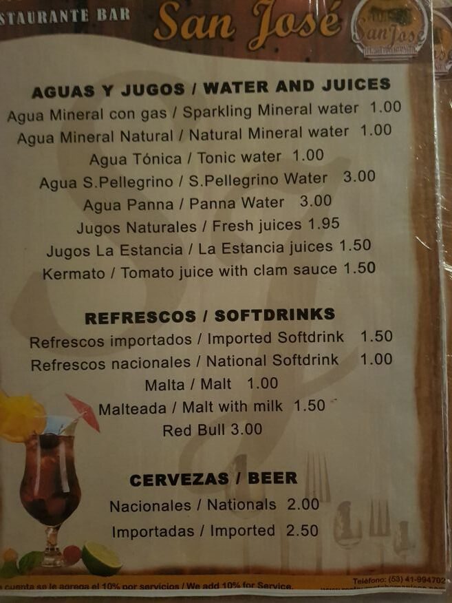 Menu at San Jose Restaurant Trinidad Cuba