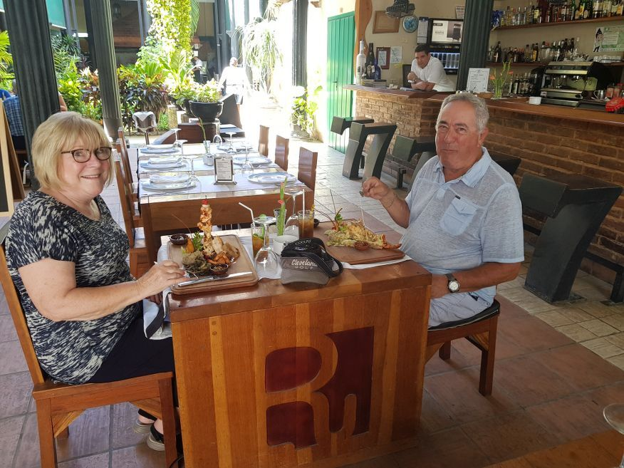 American couple enjoying their lunch at La Imprenta Restaurant Old Havana Cuba