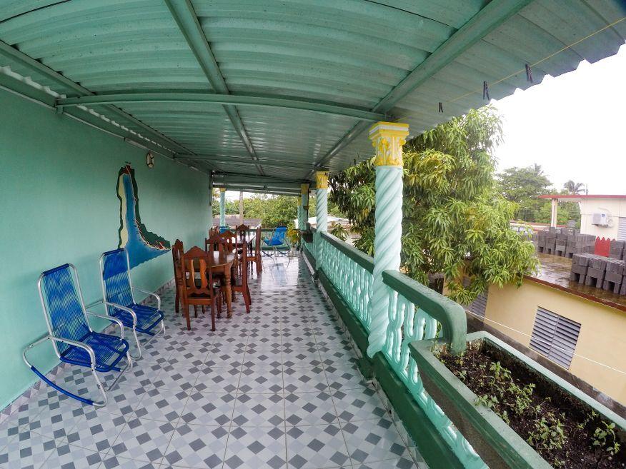 Big deck for meals at Casa Dussac Playa Larga Cuba