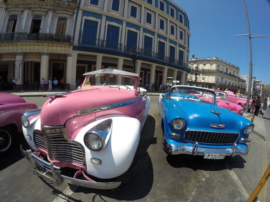 American cars parked in front of Hotel Inglaterra in Havana