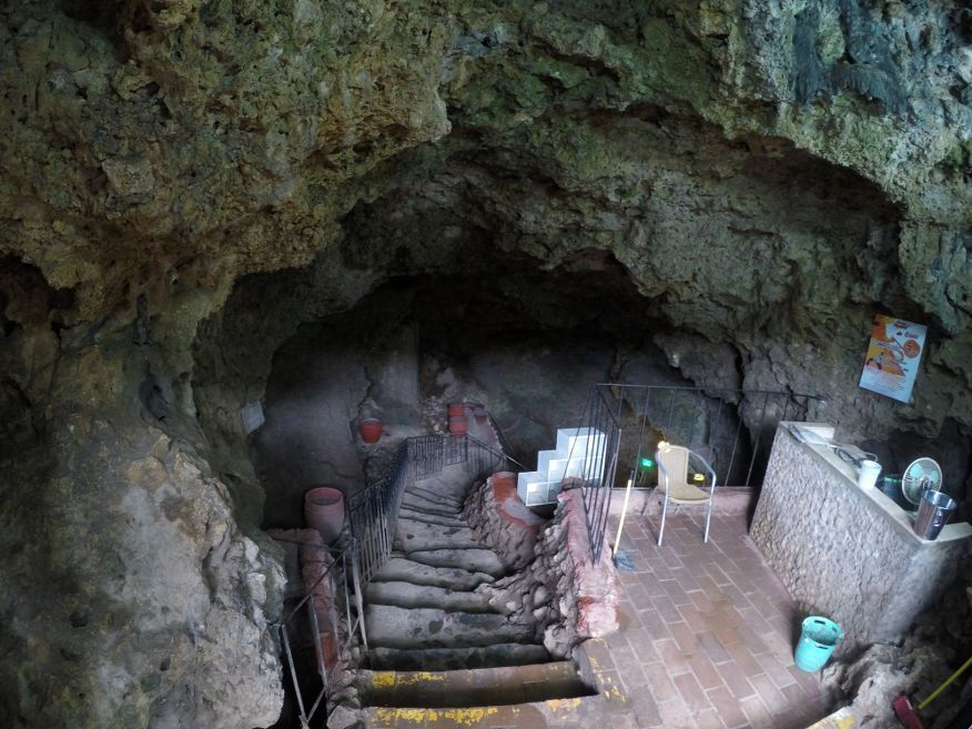 First lot of stairs to Disco Ayala in a cave Trinidad Cuba