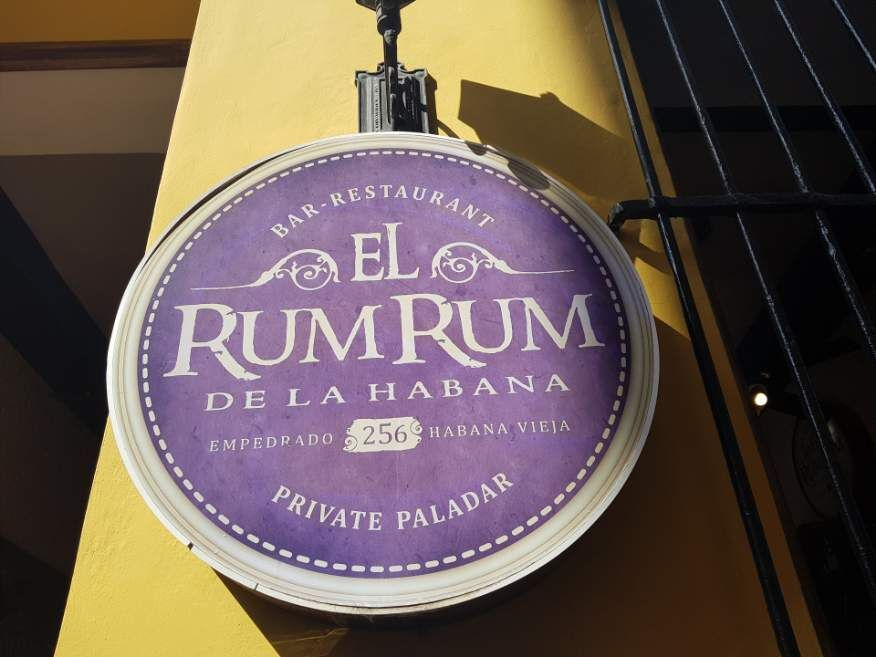 Sign El Rum Rum Restaurant Old Havana Cuba