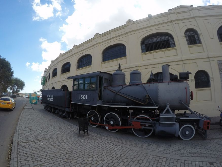 Trains out the front of the handicraft markets in Havana Cuba