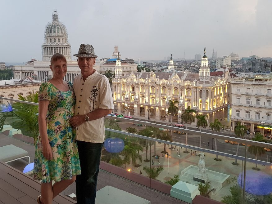 Us on the roof top restaurant San Cristobal in Havana