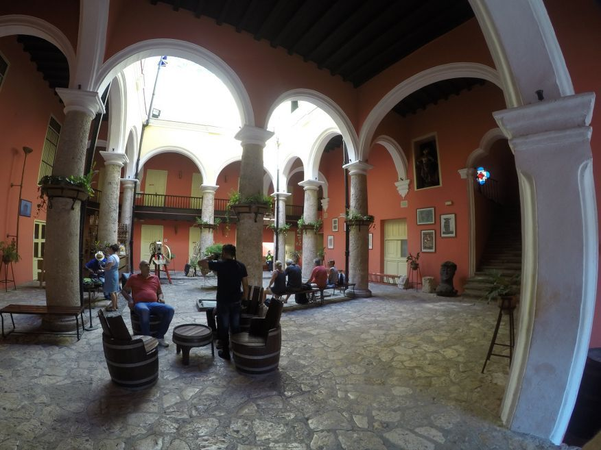 Waiting area before the tour starts at the Rum Museum in Havana Cuba