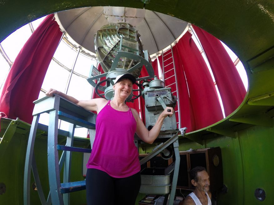Me showing how the manual wind up works to operate the lighthouse