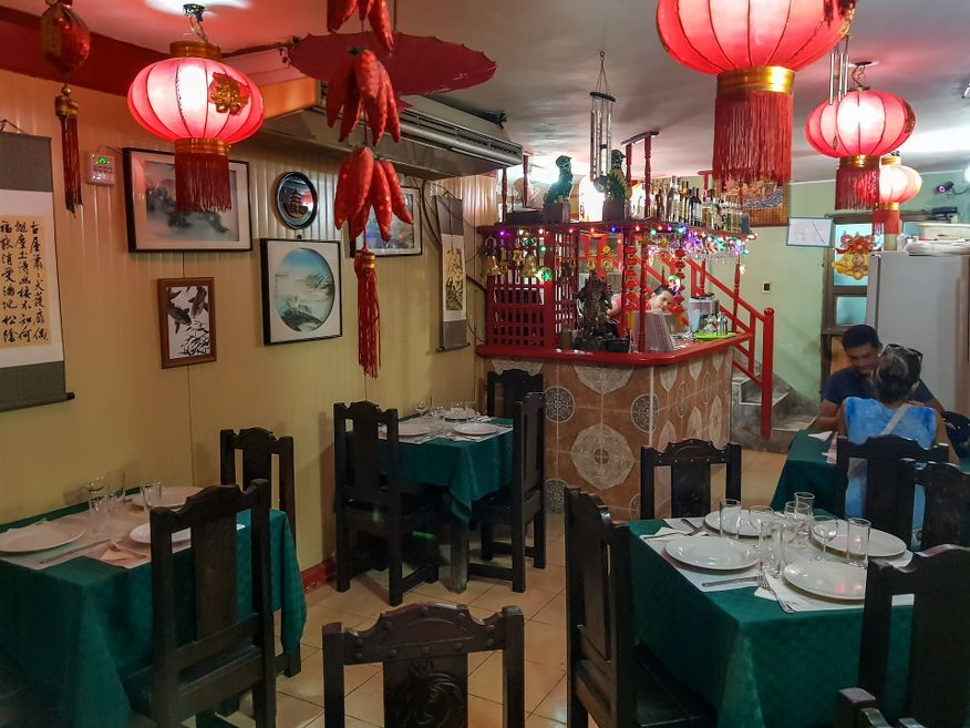 Air con inside Tien Tan Restaurant Havana Cuba