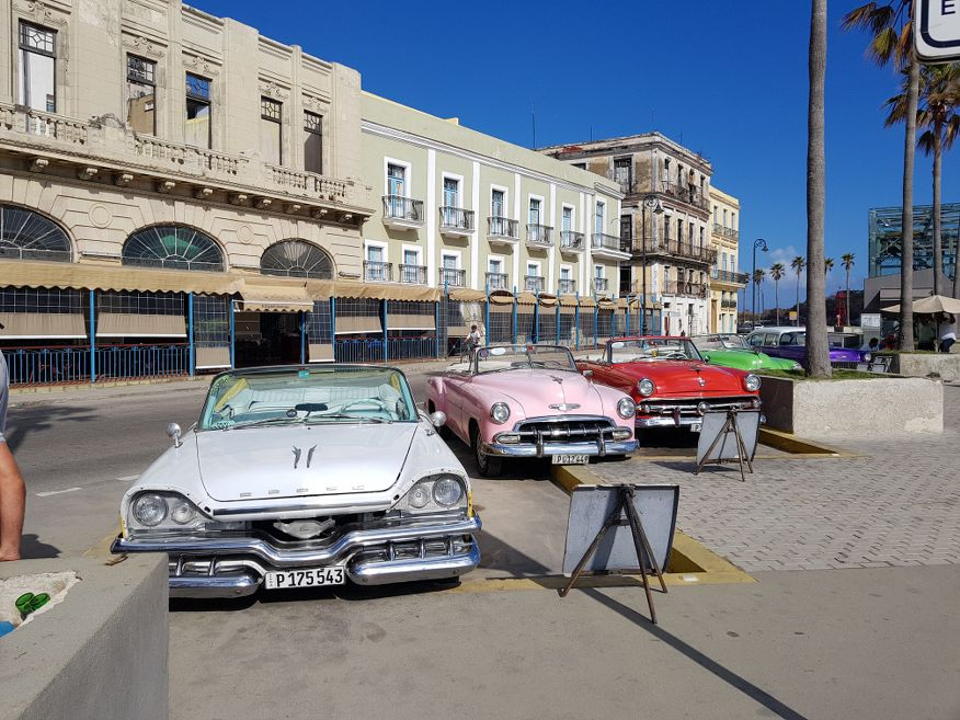 American cars parked opposite the cruise terminal in Havana