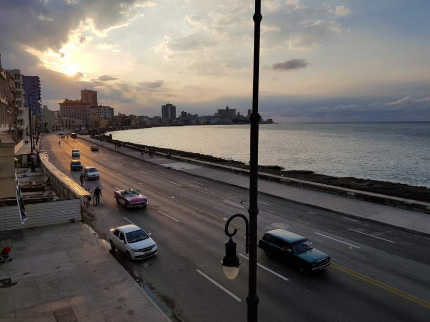 Fantastic sunset views from Castropol Restaurant on the Malecon