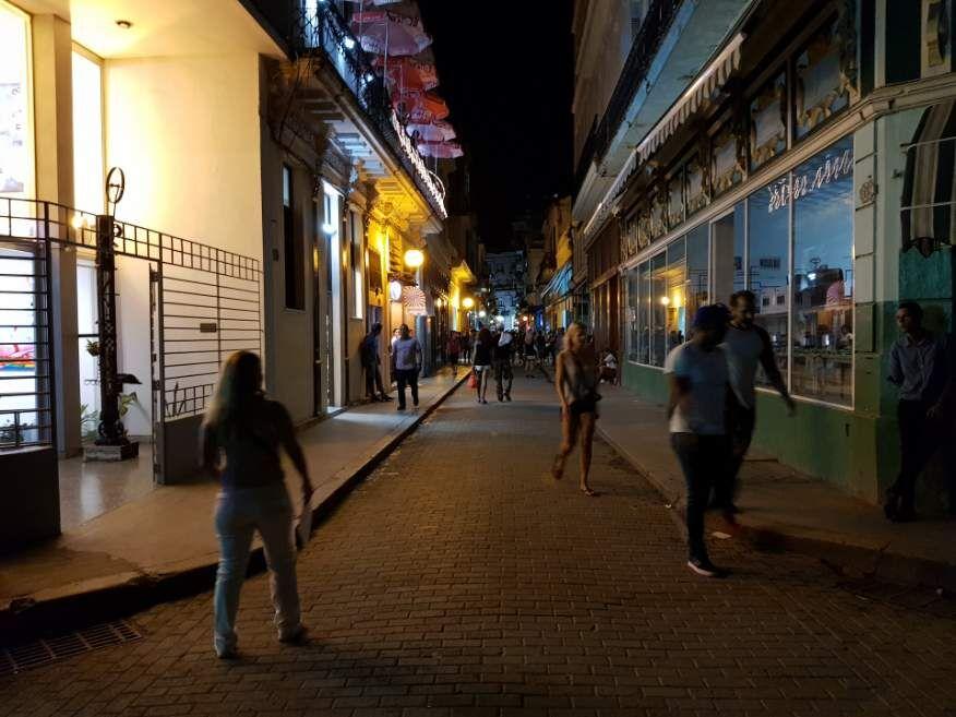 At night Obispo St Old Havana Cuba