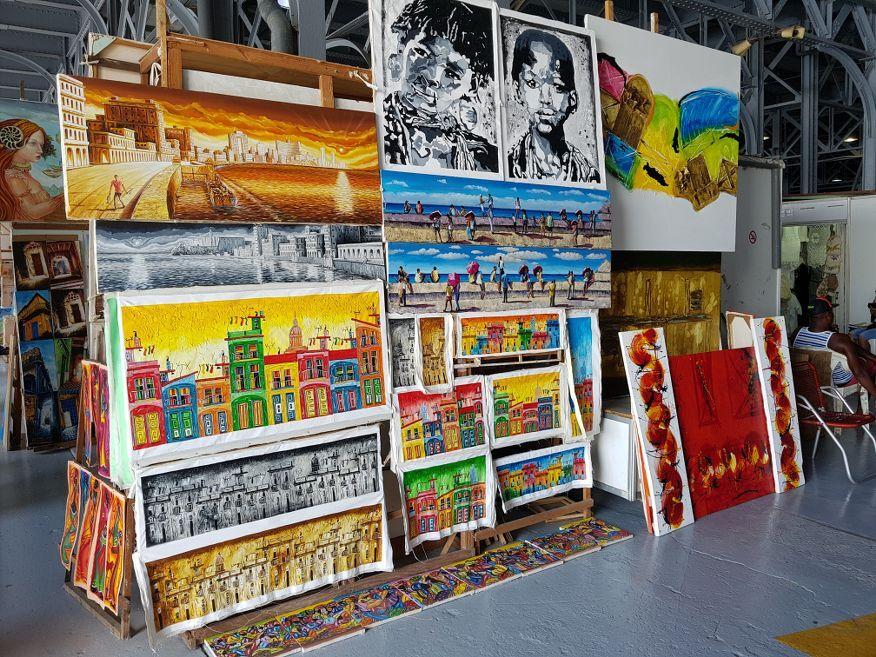 Lots of great artwork at the handicraft markets Havana Cuba