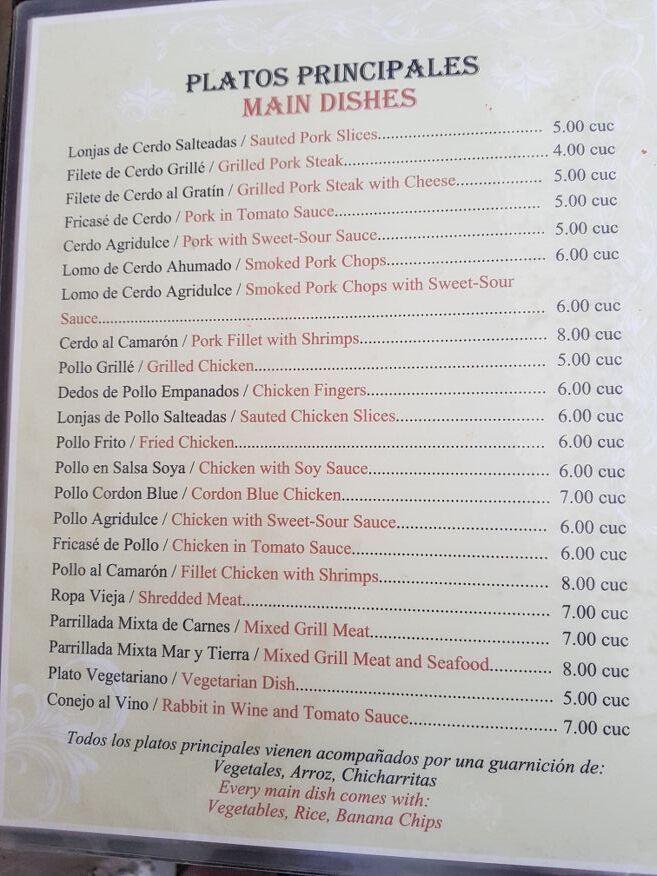 Main menu at Dona Nora Restaurant Cienfuegos Cuba