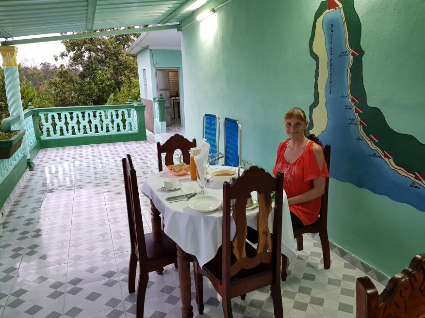 Meals on the deck at Casa Dussac Playa Larga Cuba
