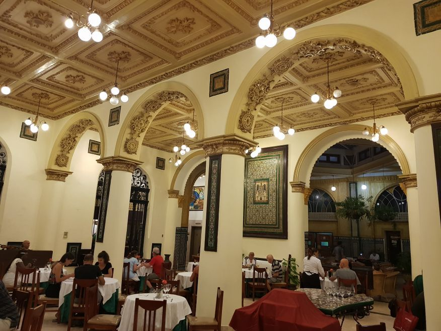Another view of patteerned tiles and ceiling at the Hotel Inglaterra Havana