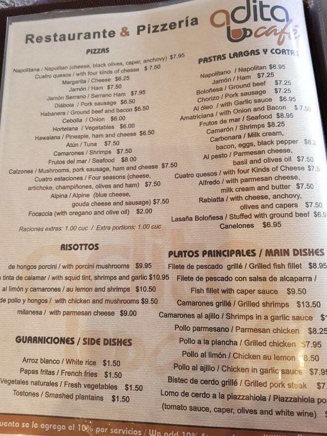 Menu at Adita Restaurant Trinidad Cuba