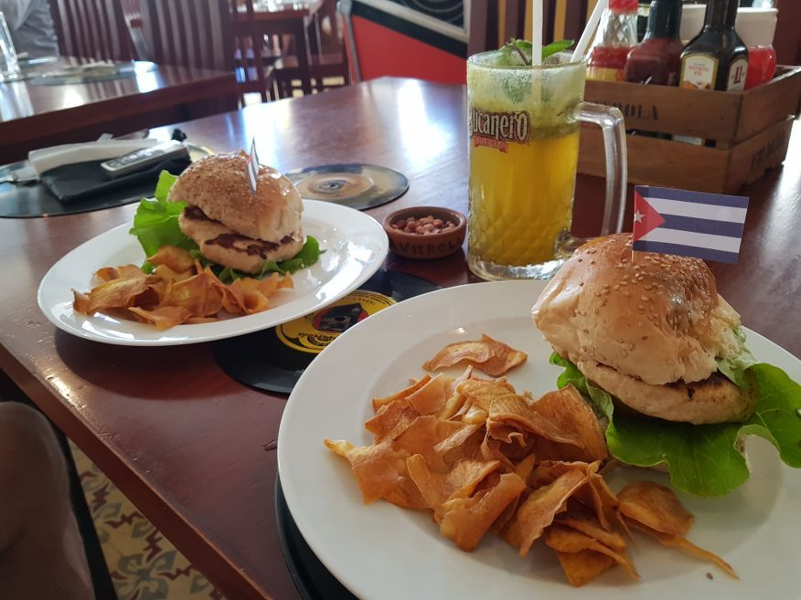 Chicken burgers for lunch at La Vitrola Restaurant Old Havana Cuba