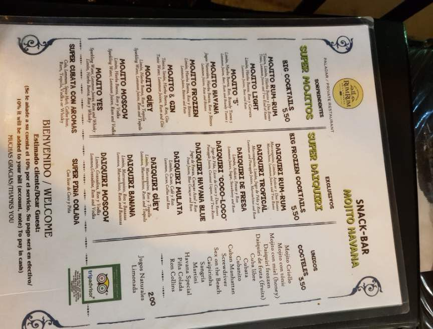 Drinks menu at El Rum Rum Restaurant Old Havana Cuba