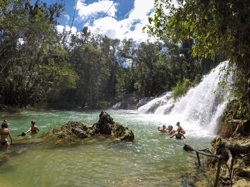 First waterfall is the biggest with nice swimming hole El Nicho Waterfalls Cienfuegos Cuba