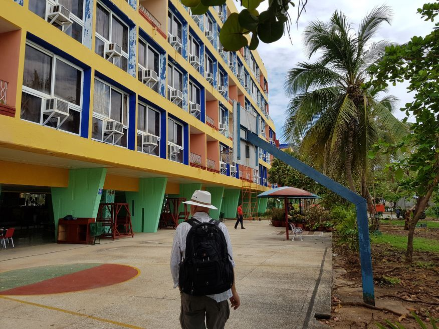 The shabby hotel at Playa Ancon Beach Trinidad Cuba