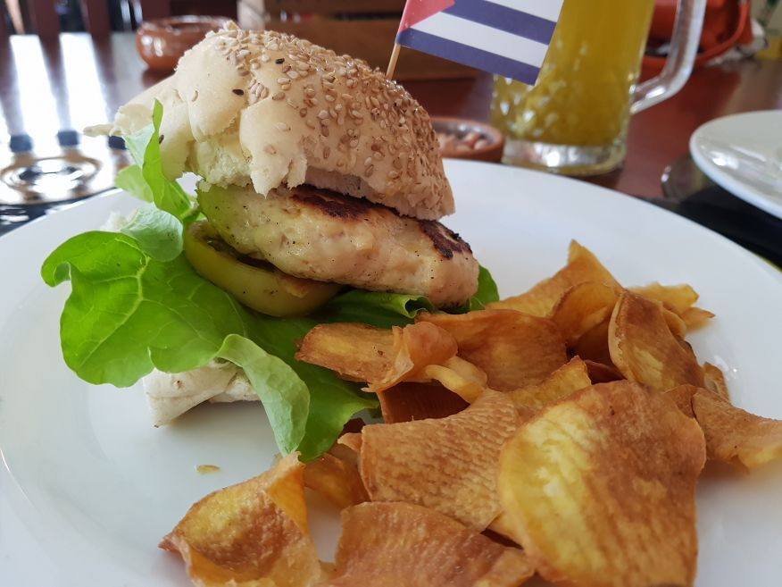 Close up of Chicken Burger at La Vitrola Restaurant Old Havana Cuba