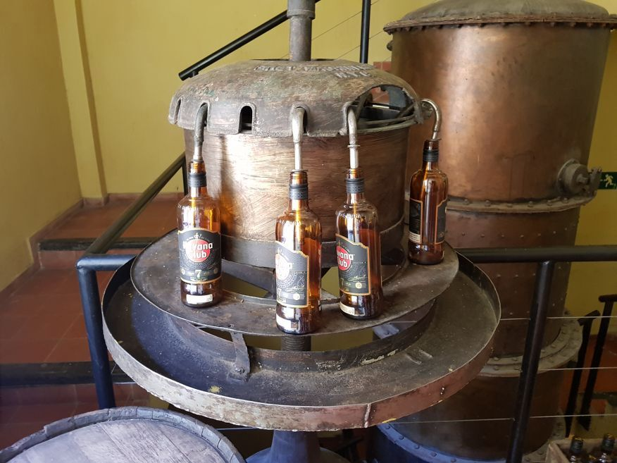 Filling the bottles at Rum Museum in Havana Cuba