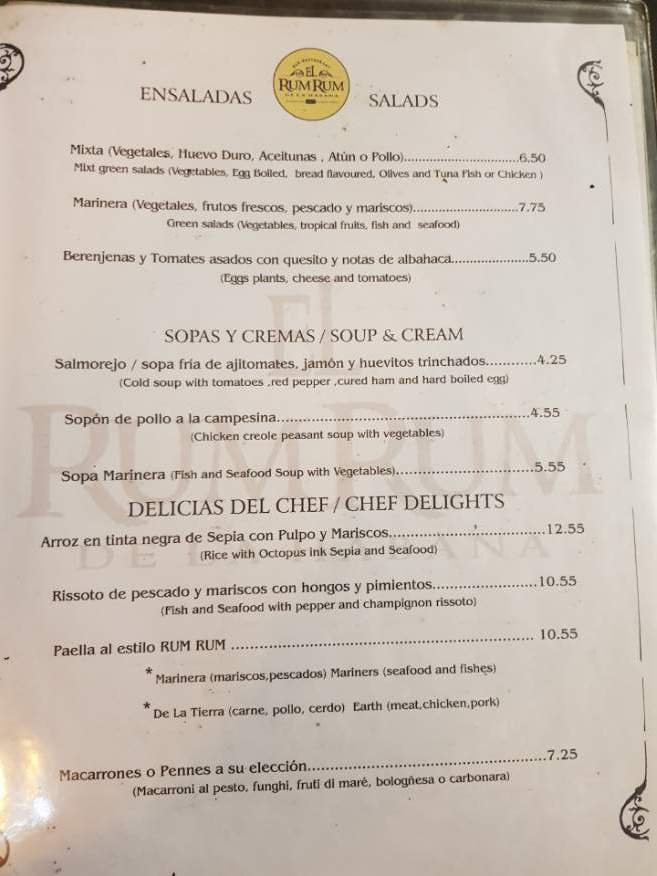 Menu at El Rum Rum Restaurant Old Havana Cuba