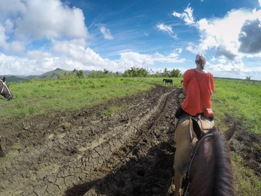 Some pretty muddy parts Horse Ride Tour to Waterfalls Trinidad Cuba