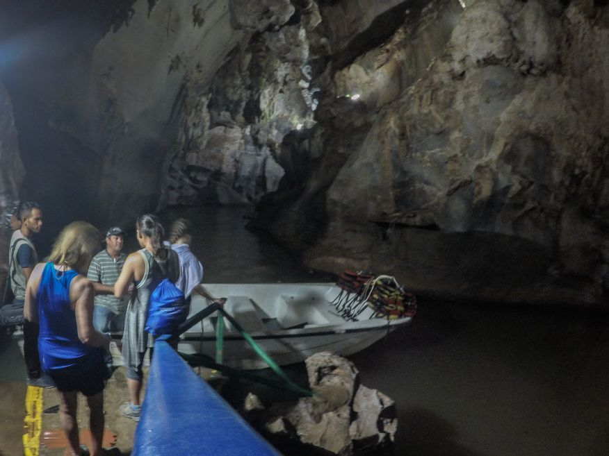 Boarding the boat for a short ride Cueva del Indio Caves Vinales Cuba