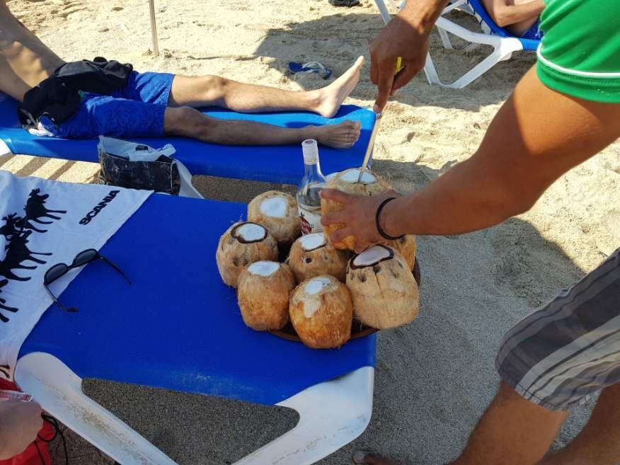 Drinks at the beach at Playas del Este Havana Cuba