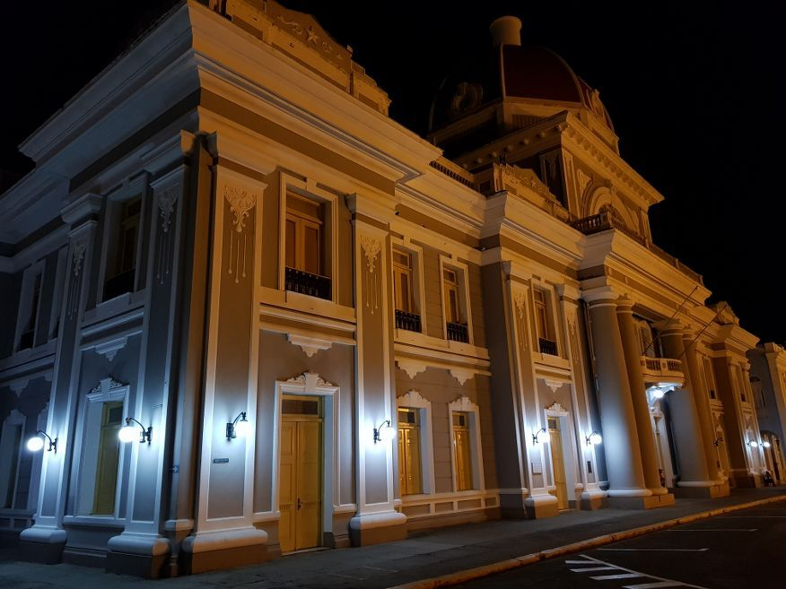 Government building at night Parque Marti Square Cienfuegos Cuba