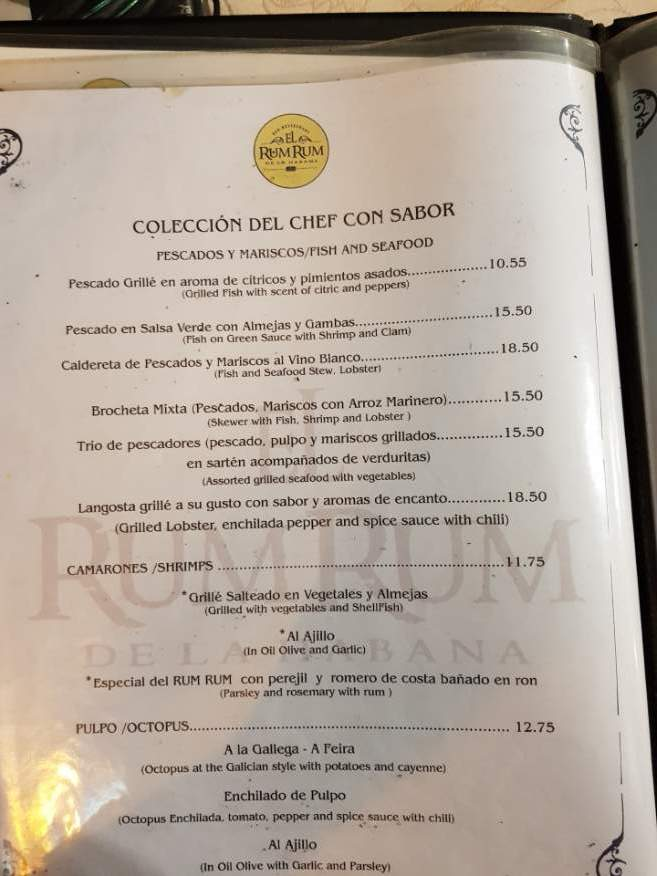 Seafood menu at El Rum Rum Restaurant Old Havana Cuba