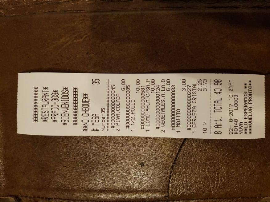 The bill at La Terraza Restaurant