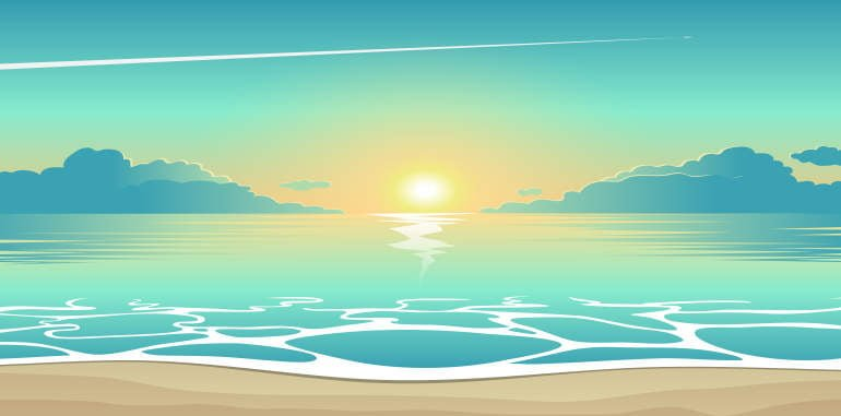arrecife-weather-illustration-tropical-beach-summer-seascape-evening-blue-sky-sun-setting-near-horizon