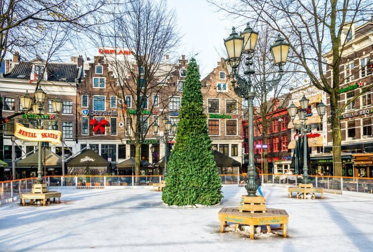 christmas-market-netherlands-amsterdam-christmas-tree-in-middle-of-ice-rink-at-leidenplein-square