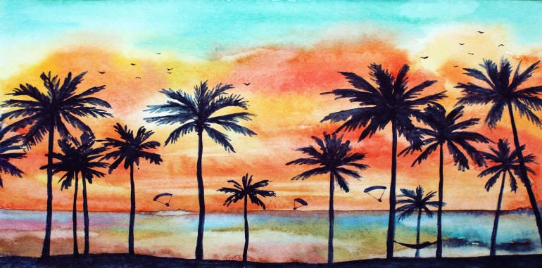 costa-teguise-weather-watercolor-illustration-tropical-landscape-with-palm-trees-orange-clouds-sunset-reflect-in-ocean