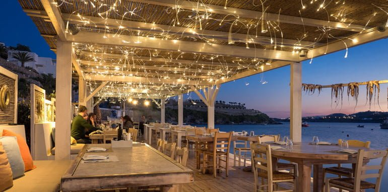 Nighttime Outdoor Patio Seating with Sea View @ Apaggio Restaurant