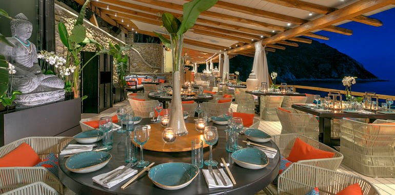 Nighttime Outdoor Patio Seating with Sea View @ Buddha Bar Beach Restaurant