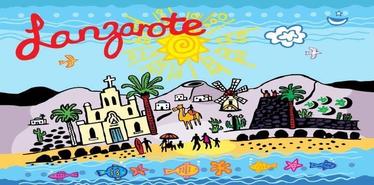 lanzarote-weather-illustration-ocean-beach-castle-windmill-camel-sunny-blue-sky