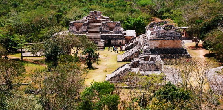 mexico-coba-ancient-mayan-city-archaeological-site-aerial-view-three-pyramids-nestled-deep-in-green-forest