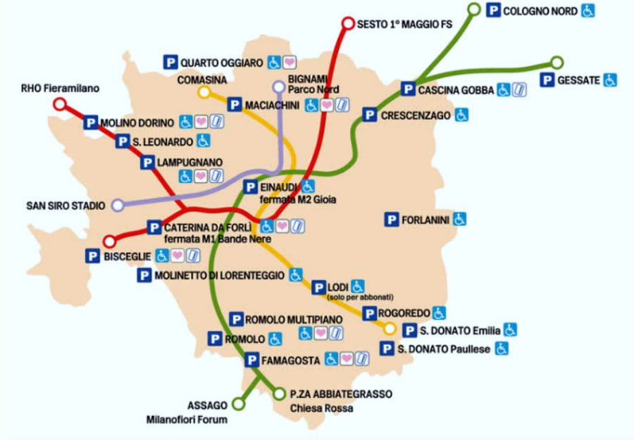 Milan Subway Map.Milan Metro Maps For Linea M1 M2 M3 M5 And Nearby Public Parking Lots