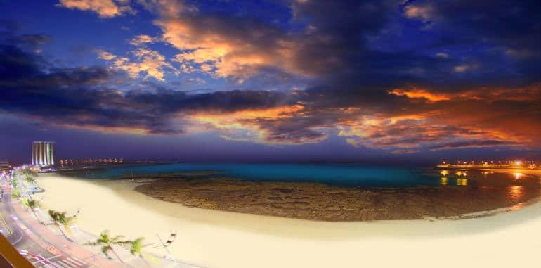 playa-reducto-beach-arrecife-aerial-view-night-sky-boardwalk-hotels