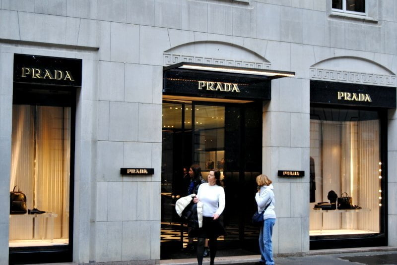 The Prada store dedicated to the women's collections located in via Monte Napoleone 8